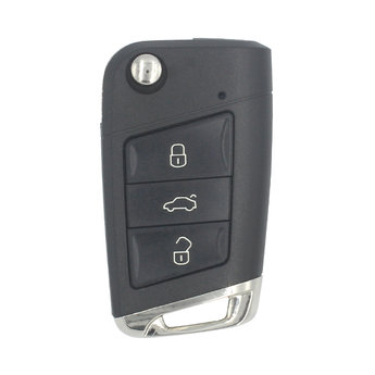 VW MQB 2015 3 Buttons Flip Remote Key Cover  HU66 Chrome